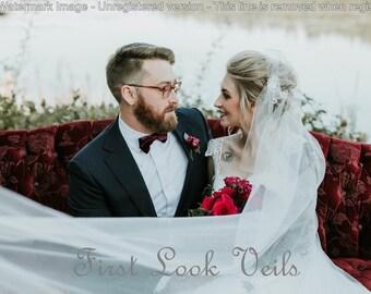 Ivory Wedding Veil, Bridal Cathedral Veil, Juliette Veil, Elegant Veil, Lace Veil, Wedding Vail, Fascinator, Hat Veil, Bride