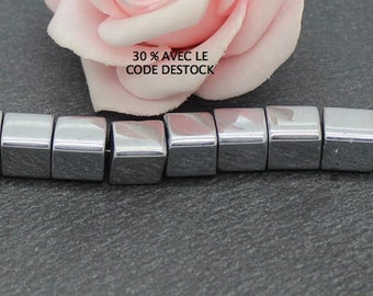 20 x 8 mm silver color cube glass beads