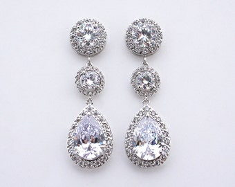 Trissie - Crystal Teardrop Earrings, Wedding Earrings, Cubic Zirconia Bridal Earrings, Bridal Jewelry, CZ Drop Earrings, Dangle Earrings