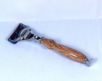 Handcrafted Red Oak Razor Handle for Gillette Fusion/Mach3/DE Safety Razor