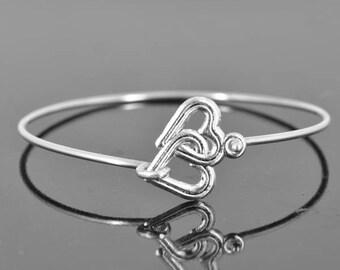 Heart Bangle, Sterling Silver Bangle, Heart Bracelet, Stackable Bangle, Charm Bangle, Bridesmaid Bangle, Bridesmaid jewelry, Bridal Bracelet