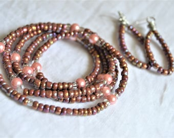 ROSE SEEDBEAD WRAP Bracelet and Oval Matching Earrings Set Rose and Pink Pearls