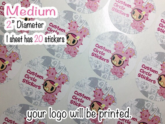 Custom Circle Sticker 【Medium】1 sheet 20 stickers slime container labels