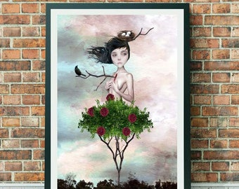 Rose Bush Girl | Art Print | Rose Girl | Pop Surrealism Art | A3 Art print | Thorn In My Side