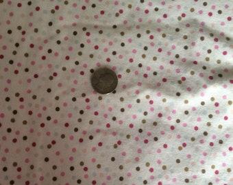 Polka dot flannel, pink flannel fabric, polka dot fabric