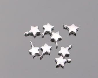 Star Pendant,  Silver Finish Tarnish Resistant Small Star Pendant, Small Star Connector, Earring Findings, 2 pc, B59338