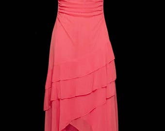 90s Hot Pink Ruffle Layered Gown     LV0076