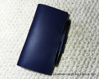 100% hand stitched handmade dark slate blue cowhide leather checkbook cover