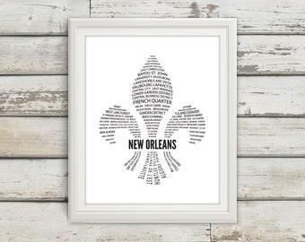 New Orleans, New Orleans Neighborhoods, New Orleans Print, New Orleans Art, New Orleans Poster, New Orleans Louisiana, Louisiana, Bourbon St