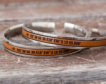 Cuff Bracelet Personalized Long Distance Relationship Couples Gift Long distance Boyfriend gift Best Friend Gift Matching Bracelets Bff