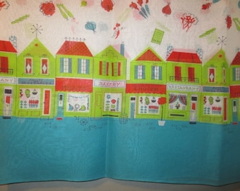 "Vintage 1950's Border Print // Cotton Organdy Fabric, Deadstock // City Shops, Veggies, Turquoise, Green...38"" X 74"" long"