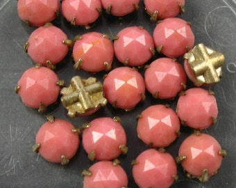 Vintage 6mm Rose Montee 2 hole sew ons - Pink in Silver Setting