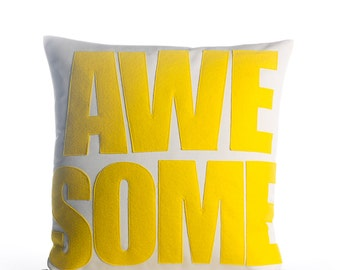 "Outdoor Pillow, Throw Pillow, Decorative Pillow, ""Awesome"" pillow, 16 inch, gift, pillow"