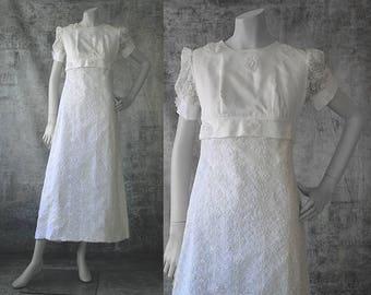 Vintage 1960s Lace Wedding Dress, Short Sleeve Wedding Dress, White Bridal Gown, Tea Length Bridal Gown, XS Wedding Dress, Empire Waist