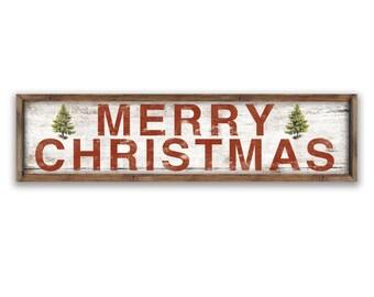 "Farmhouse Christmas sign  44""x12""x2"" Christmas plaques Merry Christmas signs Christmas decor Holiday signs Holiday decor Cottage Christmas"