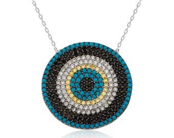 Big Blue Bead Silver Ladies Necklace - IJ1-1797