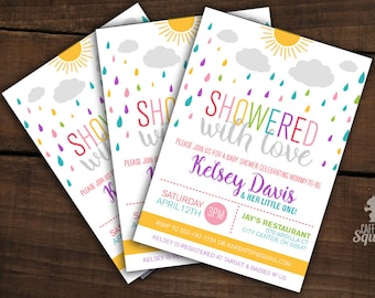 Showered with Love - Invitations -  Customizable - Gender Neutral, Printed, Baby Showers, Rainbow, Baby , Sprinkle, Raindrops, Sun, Clo