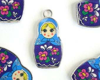 Nesting Doll Charms, Matryoshka Pendants, Russian Doll Charms, Blue Enamel Resin - 2 pieces (281)