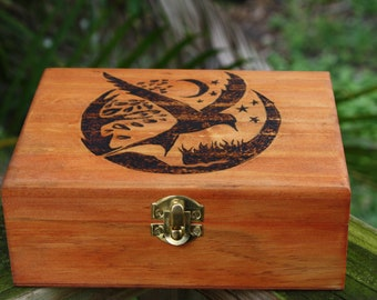 Raven Nightscape With Crescent Moon Silhouette Stash Box