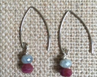 Sapphire rondelle earrings