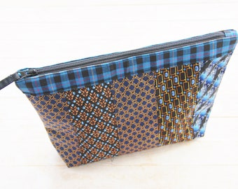 Toilet bag zipper pouch cosmetic bag toiletry nececcaire carry-all necktie silk patchwork blue brown yellow black upcycled Father's Day gift