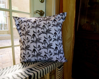 Wild Iris Hand Block Printed Throw Pillow