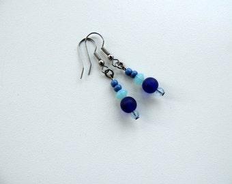 Glass beads earrings,blue bead dangle earrings,bead jewelry