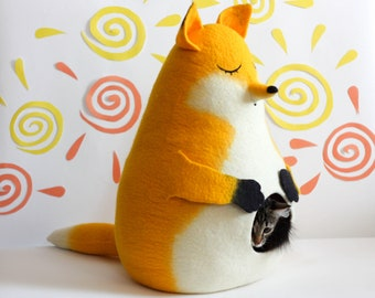 Cat house Sunny Fox yellow felted cat bed cave pet furniture natural eco-friendly wool animal pet bed gift for cat lovers
