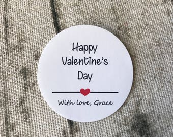 24x 4cm White or Kraft Round Happy Valentine's Day Stickers • Personalised Product Gift Packing Labels • Can be any text
