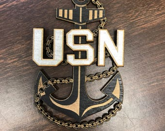US Navy Chief, Senior Chief, and Master Chief Wood Anchor   Black with Gold or Silver Painted USN and Stars   Navy Retired   Retirement Gift