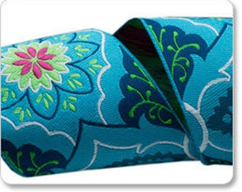 """Jacquard Ribbon - Belle - Blue/Navy Brocade 2"""" wide by Amy Butler - from Renaissance Ribbons. Sold by the Yard"""
