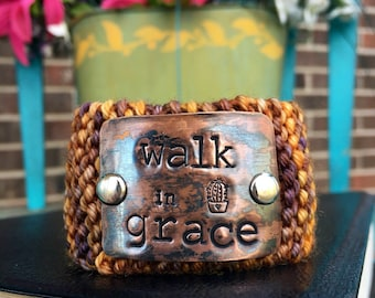 Walk in Grace Bible Verse Bracelet, Custom Hand Stamped Bracelet, Christian Jewelry Under 30