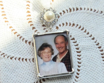 Custom Soldered Glass Bouquet Charm - Photo & Quote - with  Pearl and Rhinestone Accent on top