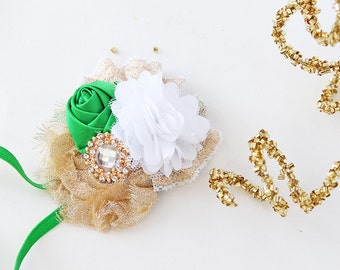 Gold Mountain - green white and gold st patrick's day rosette bow headband