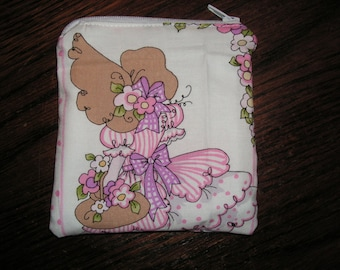 Loralie design garden lady flowers handmade zipper fabric coin change purse card holder