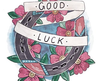 Good Luck Horse Shoe Tattoo Style Art Print