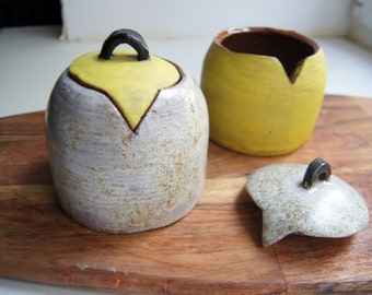 Kitchen Storage- Salt Jar- Ceramic Canister -Salt And Pepper Cellars -Handmade Pottery