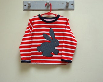 Kids T Shirt pdf sewing pattern Sloppy Joe Top with bunny applique, children's top sewing pattern, boys and girls sizes 9 months to 12 years