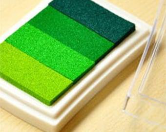 x 1 box gradient green stamp pad ink 7.5 x 5 cm