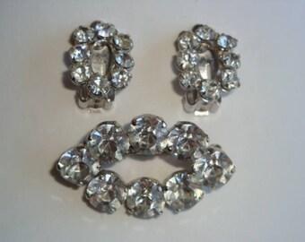 Stunning Coro Silver Tone Rhinestone Demi Parure - Brooch and Matching Earrings