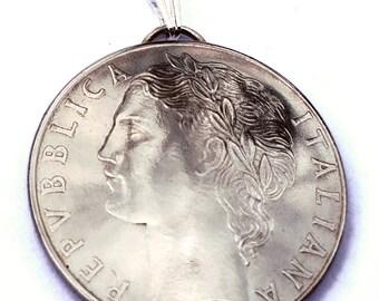Italian Coin Pendant Woman Portrait Vintage Necklace Italian Jewelry Unique World Travel Italian Charms Italian Jewelry Made in Italy 100L