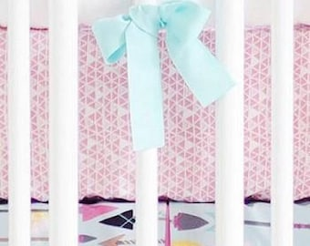 Aqua & Pink Arrow Little Explorer Crib Baby Bedding | Crib Sheet