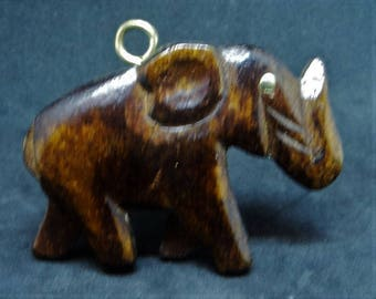 Large Wooden Elephant Pendant... c.1970s-80s... Nicely Carved