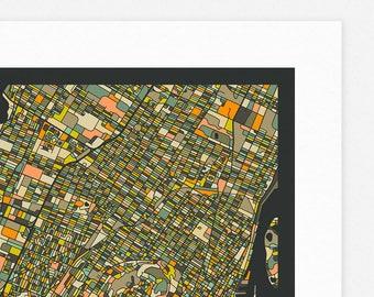 MONTREAL MAP (Giclée Fine Art Print/Photo Print/Poster Print) dark version