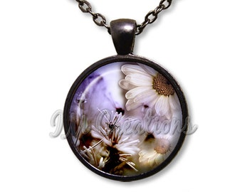 Flower Daisy Lover Dome Pendant or with Chain Link Necklace NT158