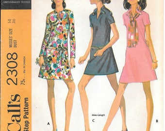Bust 36-FACTORY FOLDED 1970 Misses Dress and Scarf McCall's 2308 Size 14