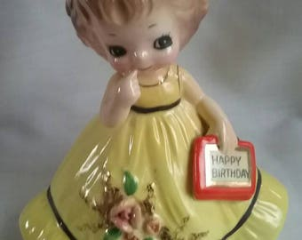 Vintage Josef Birthday Girl Figurine, Japan