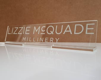 bespoke table sign with logo