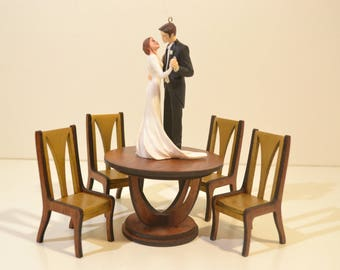 Set of furniture: Table & 4 Chairs for Dolls miniature BJD 1/12 diorama OOAK