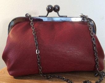 Dark Red Leather Ball Clasp-Clutch Purse,Leather Purse,Clutches,Leather Clutch,Womens Clutches,Leather Clasp Purse, Clasp